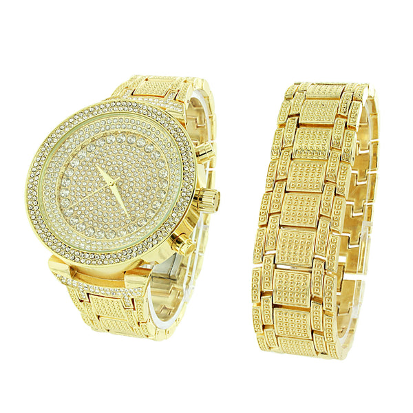 Gold Finish Watch Bracelet Gift Set Iced Out Simulated Diamonds