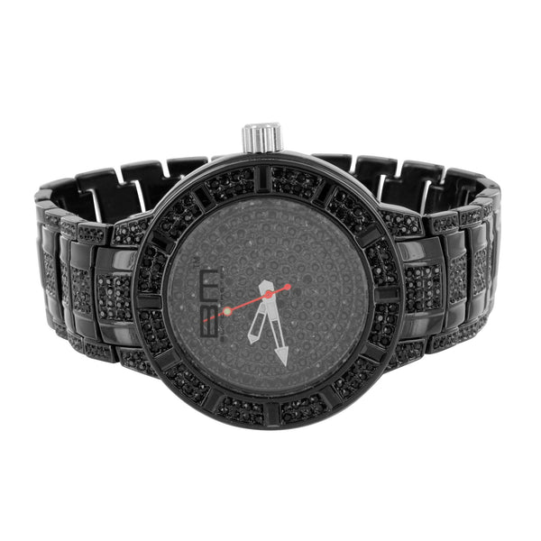 Mens Watch & Bracelet Gift Set Black PVD Analog Brand New Black