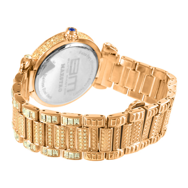 Stainless Steel Rose Gold Tone Baguette Lab Diamond Bling Master Watch