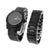 Iced Out Black Watch Bracelet Gift Set Analog Round Face