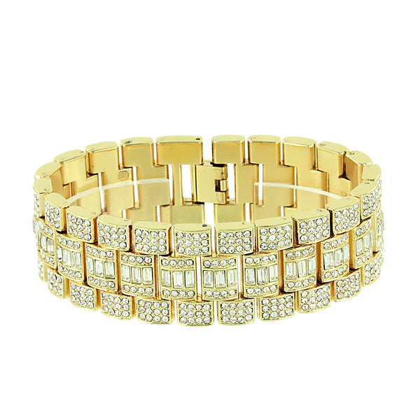 Mens Hip Hop Watch Bracelet Set Simulated Diamonds Gold Plated Iced Out