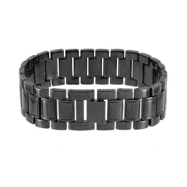 Mens Black Watch Bracelet Analog Gift Set Stainless Steel Back