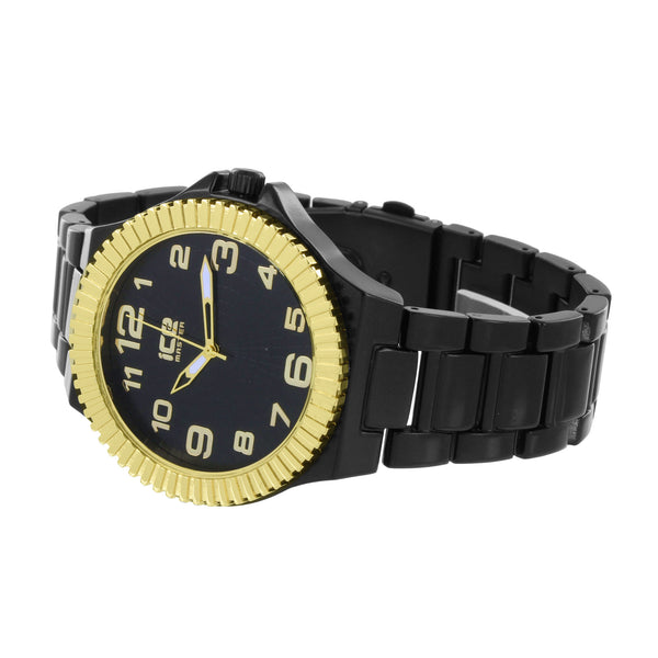 Mens Gold Fluted Bezel Watch Black Metal Band Ice Master