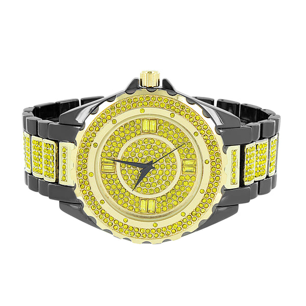 Black Gold Tone Watch Bracelet Set Canary Simulated Diamonds Iced Out