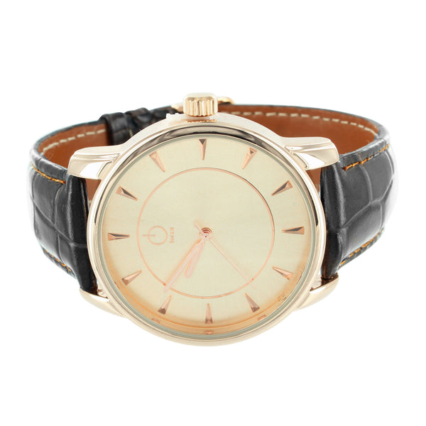 14k Rose Gold Finish Leather Strap Forza Wrist Watch Steel Back