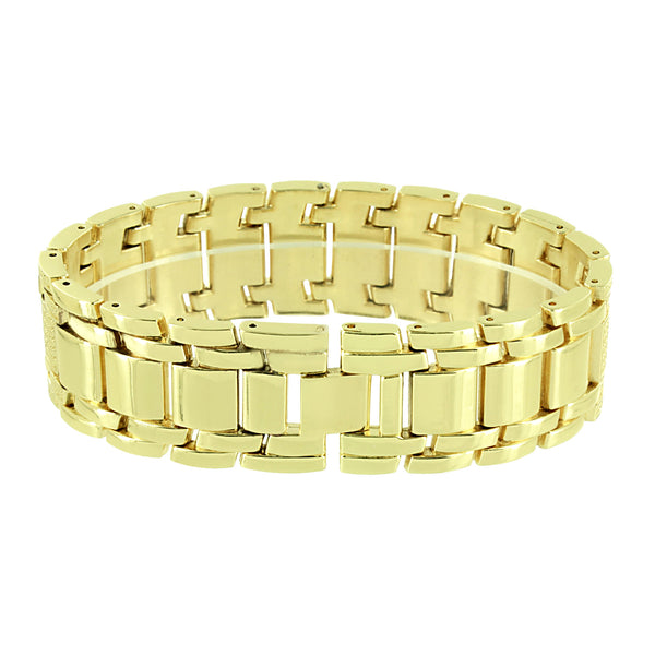 Gold Tone Watch Iced Out Canary Simulated Diamonds Matching Bracelet