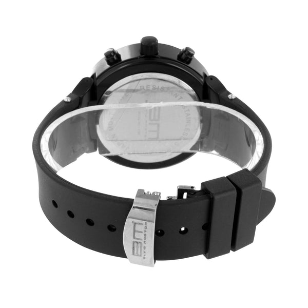 Black Finish Watch Analog Round Black Lab Diamonds Rubber Silicone Band
