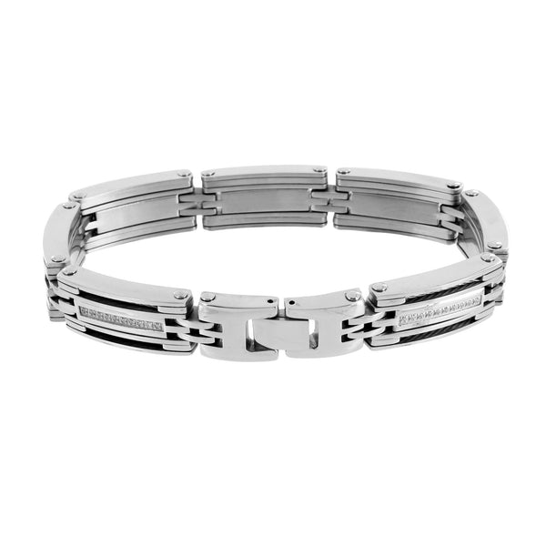Solid Stainless Steel Bracelet Lab Diamonds Pave Set 12 MM Mens Elegant