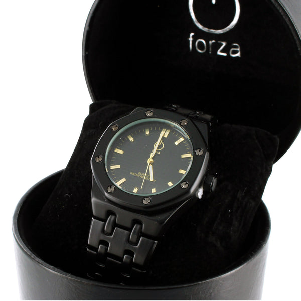 Mens Matte Black Wrist Watch Forza Steel Band