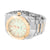 2 Tone Mens Watch Ice Mani White Rose Finish Analog Stainless Steel Back