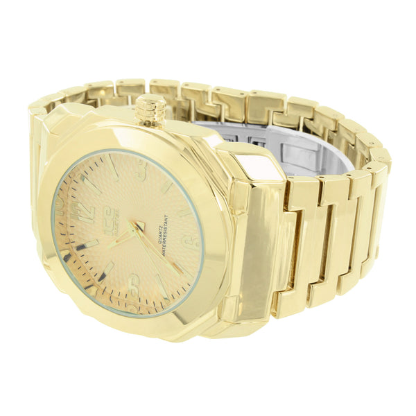 Mens Gold Finish Watch Analog Stainless Steel Back