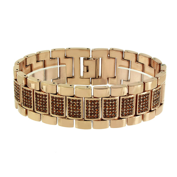 Coffee Brown Watch Bracelet Brown Simulated Diamonds Iced Out Unique