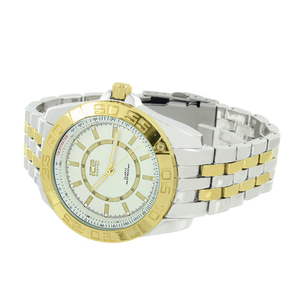 Mens Tachymeter Watch 2 Tone White / Gold Tone Custom Style Ice Mani Joe Rodeo
