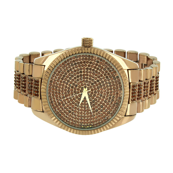 Fluted Bezel Watch Matching Bracelet Brown Iced Out Illusion Dial Classy