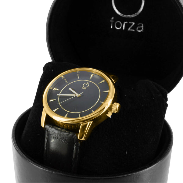 Golden & Black Mens Leather Strap Forza Watch