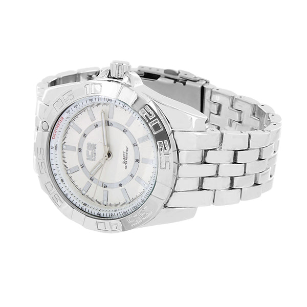 White Gold Finish Mens Watch Metal Band Tachymeter