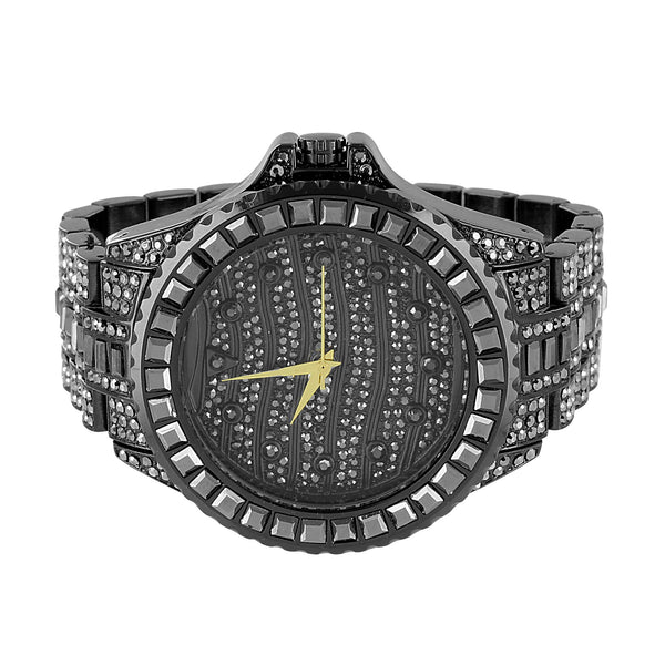 Black Iced Out Watch Simulated Diamonds Bracelet Hip Hop Princess Cut Custom
