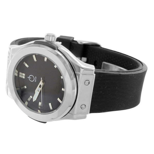 Modern Silicon Strap Forza Watch Water Resistant 14k White Gold Finish