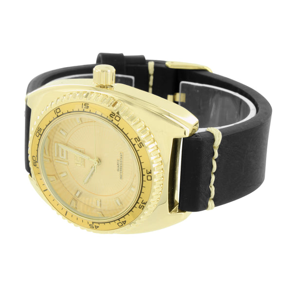 Black Rubber Band Watch Yellow Gold Finish Analog Stainless Steel Back