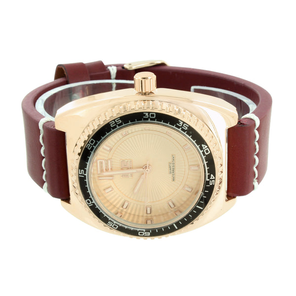 Rose Gold Finish Watch Brown Band Tachymeter Look Ice Mania