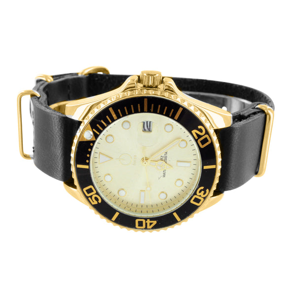 Gold Tone White Dial Black Silicon Strap Sports Watch