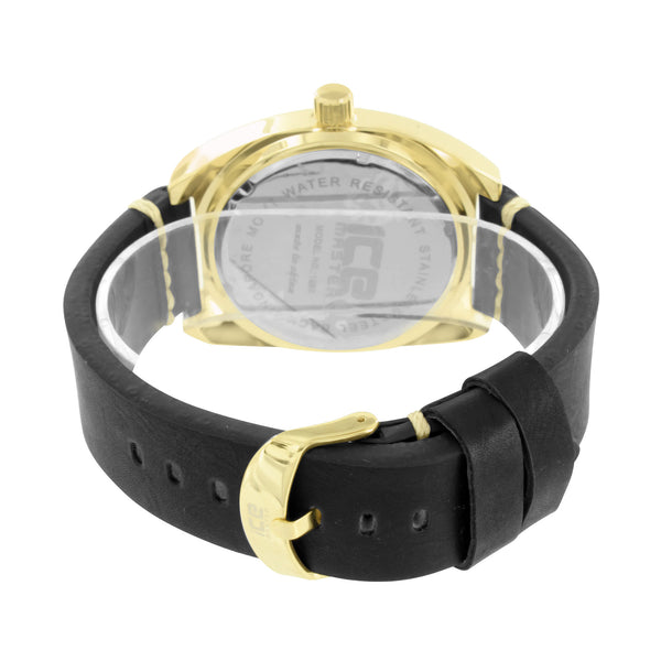 Gold Finish Mens Watch Black Dial Ice Mania Quarts Water Resistant