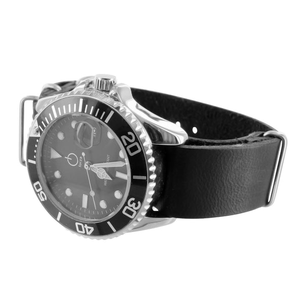 Sports Watch Casual Style White Gold Finish Black 2 Tone Dial Leather Strap
