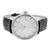 Leather White Dial Watch Mens Stainless Steel Case Round Face