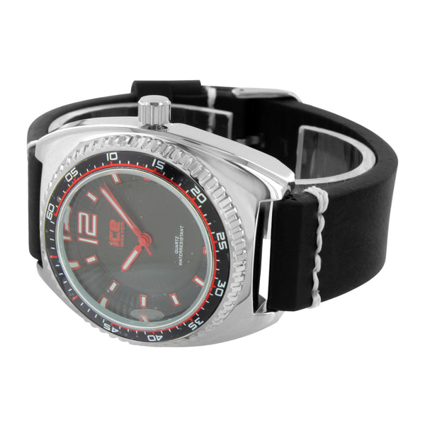 White Tachymeter Look Watch Black Leather Band Black Dial
