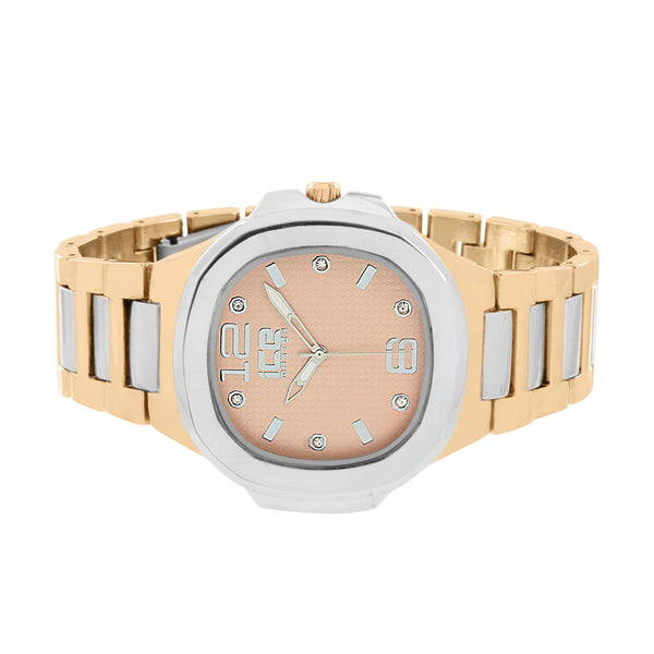 White Rose Gold Tone Watch Metal Band Ice Master Mens Ladies Stainless Steel