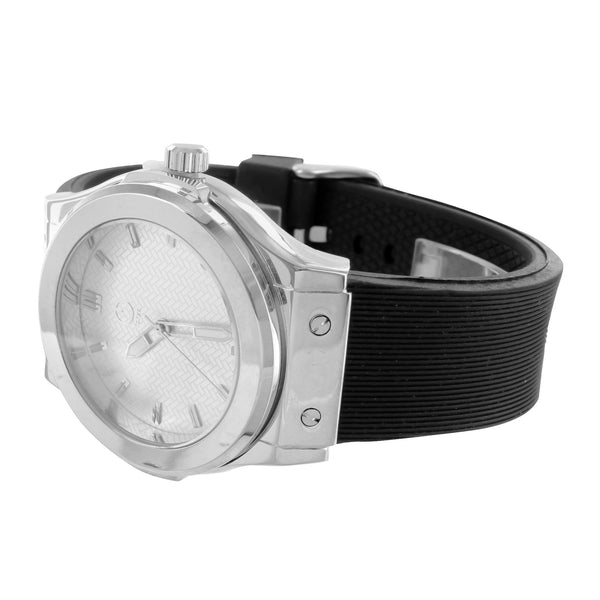 New Mens White Watch Gold Finish Silicone Strap Forza Branded