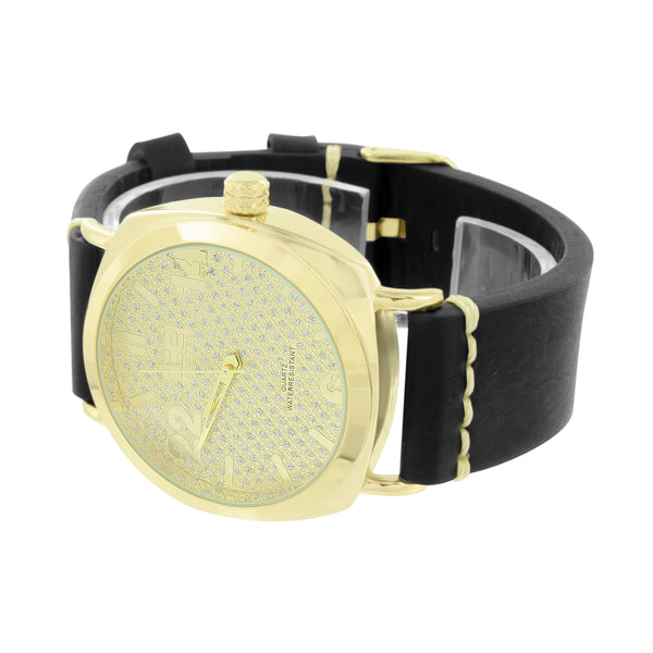 Gold Finish Mens Watch Quartz Water Resistant Analog Stainless Steel Back