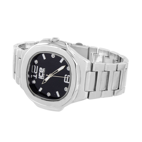 Mens Stainless Steel Watch Black Dial Analog Metal Band