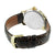 Mens Forza White Dial Leather Band Watch in 14k Yellow Gold Finish