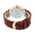 Rose Gold Finish Watch Analog Brown Leather Band Gold Finish