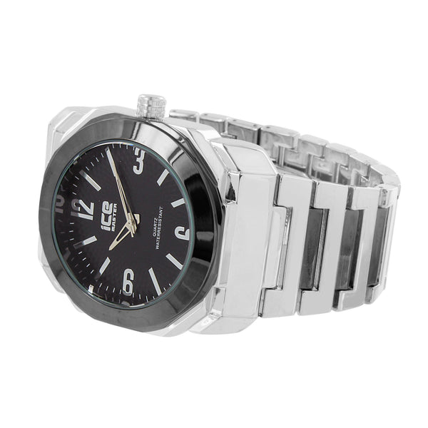Mens Ice Master Watch Silver Tone Black Bezel Analog