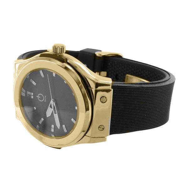 Mens Yellow & Black Analog Water Resistant Watch Forza Silicon Strap