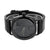 Black Finish Mens Watch Analog Leather Band Water Resistant