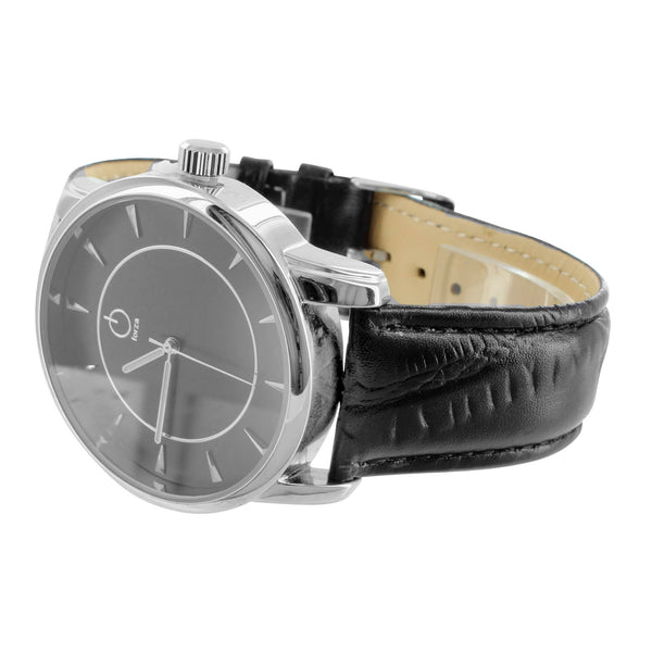 Mens Leather Band White Gold Finish Watch Quartz