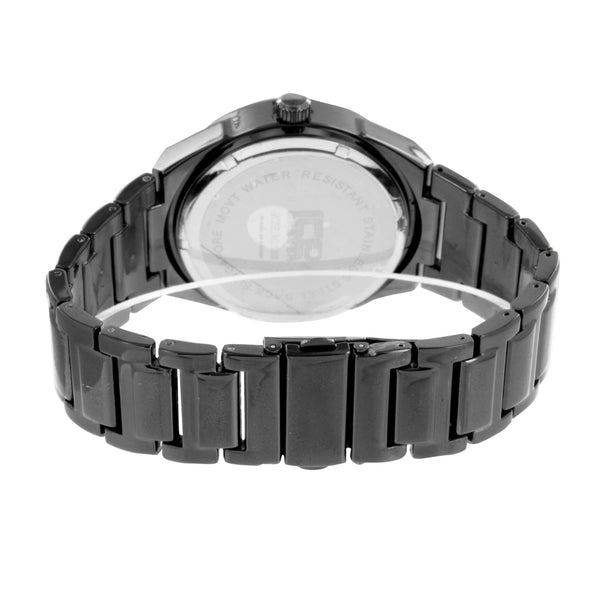 Mens Black Finish Watch Analog Metal Band Custom Designer Metal Band