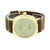 Gold Finish Watch Analog Brown Strap Lab Diamonds Stainless Steel Back