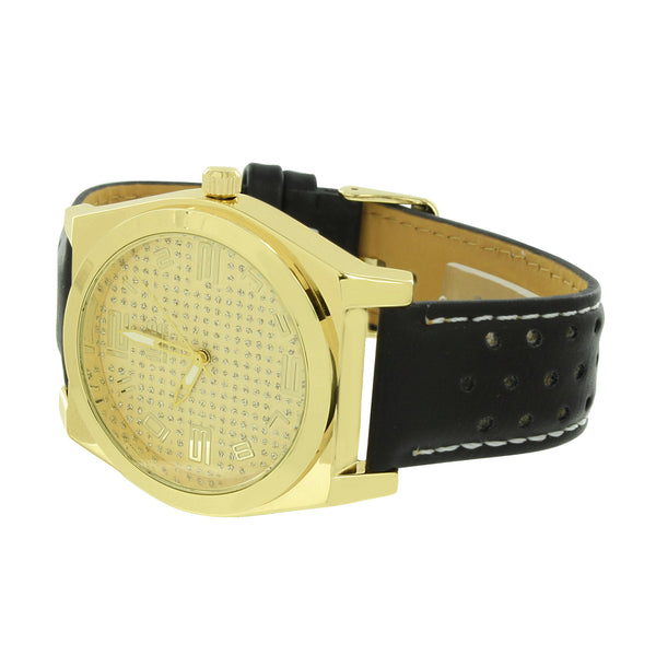 Gold Finish Leather Band Watch Stainless Steel Back