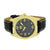 Gold Tone Mens Watch Illusion Dial Black Leather Strap Analog Stainless Steel