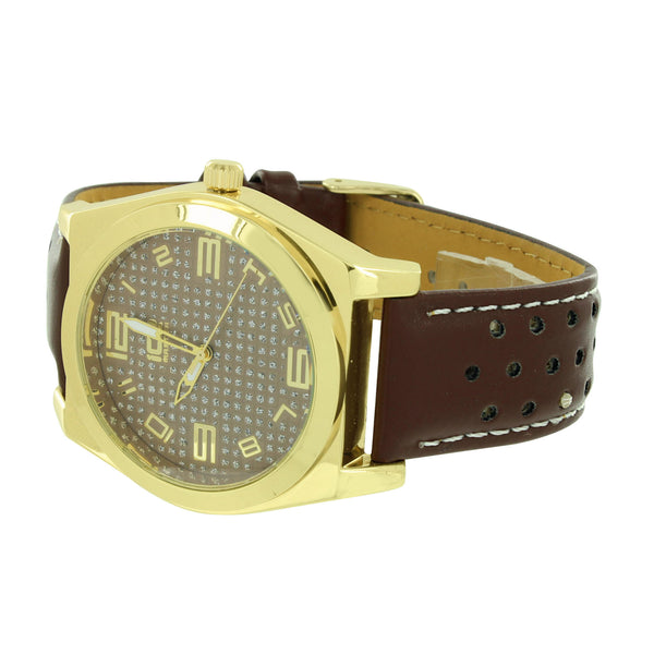 Yellow Gold Finish Brown Band Mens Watch Ice Master