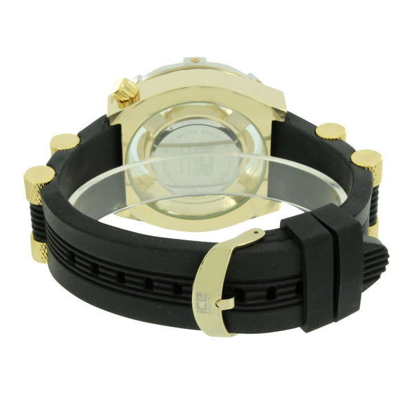 Mens Gold Tone Watch Bullet Design Silicone Band Analog Jojo Jojino Joe Rodeo