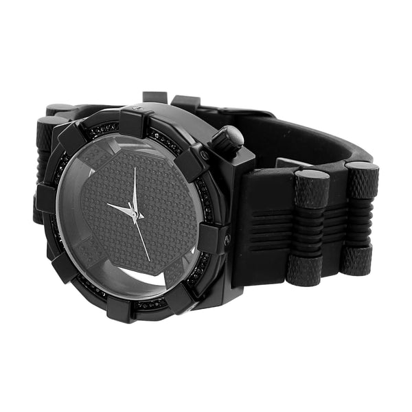 Mens Jet Black Watch Bullet Design Rubber Band Custom Look Analog