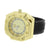 Mens Gold Finish Watch XL Bezel Screw Design Black Leather Strap 55 MM Case New