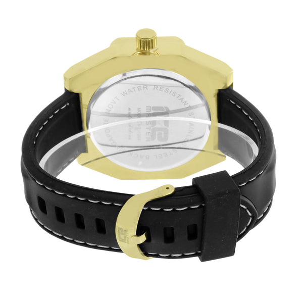 Mens Gold Tone Watch Ice Master Custom Leather Band
