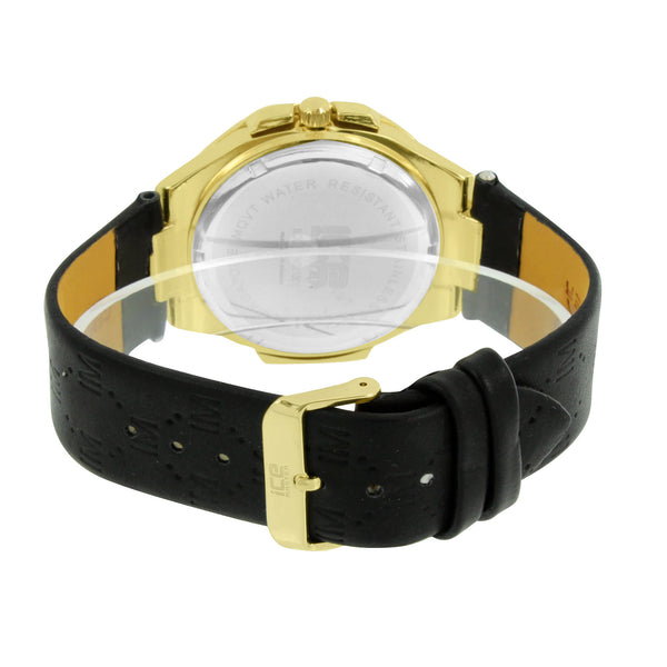 Mens Ice Master Watch Gold Tone Black Leather Band Water Resistant Classy 48 MM
