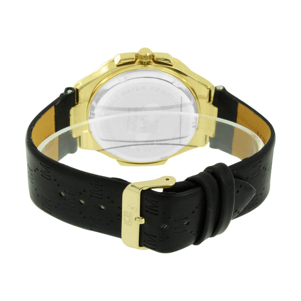 Yellow Dial Bezel Mens Ice Master Watch Black Leather Band